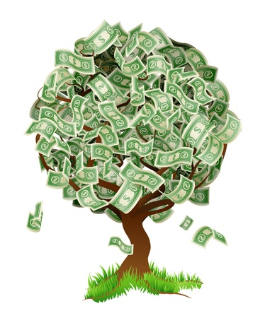 money cartoon: A conceptual illustration of a tree growing money in the form of dollar notes. Concept for profit or economic growth, earning interest or similar growing your money type theme. Illustration