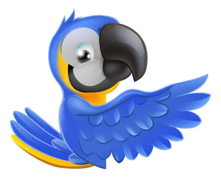 macaw: A blue and yellow macaw parrot leaning round a sign or banner and pointing his wing at what is written on it