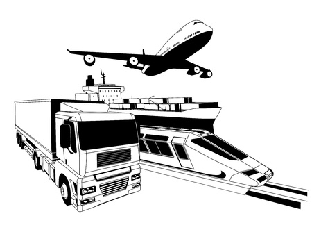 A conceptual cargo logistics transport illustration featuring a plane, truck, train and cargo ship Vector