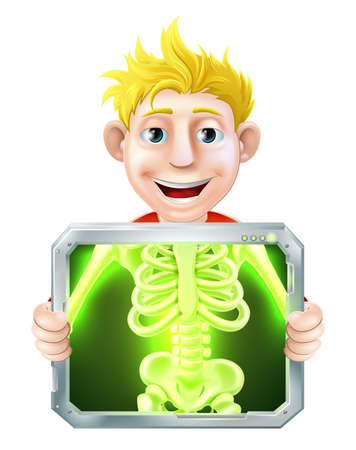 Cartoon illustration of a man holding up a screen x-raying him with his skeleton showing. Vector