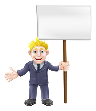 A cartoon illustration of a business guy in a suit holding a sign board Stock Vector - 19085015