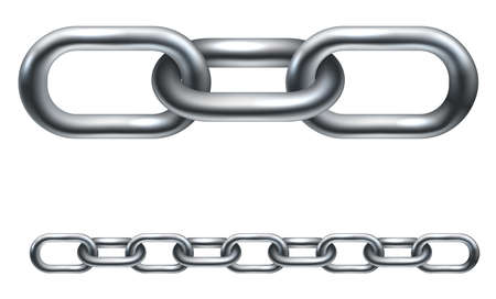 linkage: Metal chain links. In the vector version the illustration is arranged in layers to make it easier to extend to desired length. Illustration