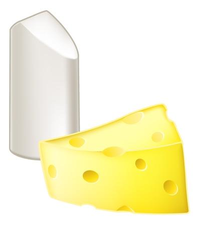oppos: Illustration de b�ton de craie et un morceau de fromage, de la craie de la m�taphore et de fromage, ce qui signifie tr�s diff�rent, diff�rent ou oppos�.