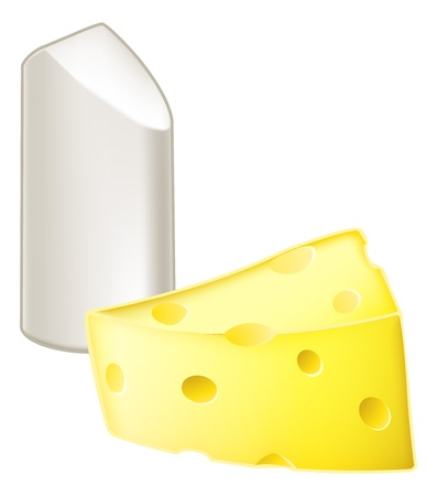 Illustration of stick of chalk and piece of cheese, from the metaphor chalk and cheese, meaning very different, dissimilar or opposite. Vector