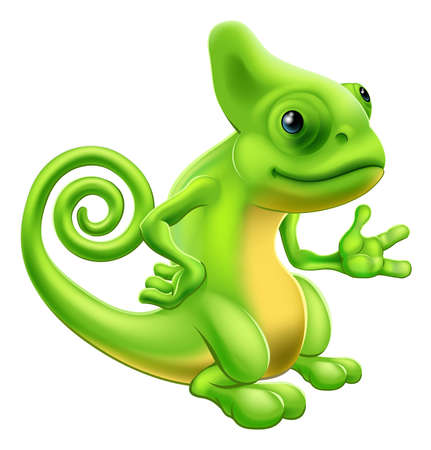Illustration of a cartoon chameleon lizard character standing and showing something with their hand. Illustration