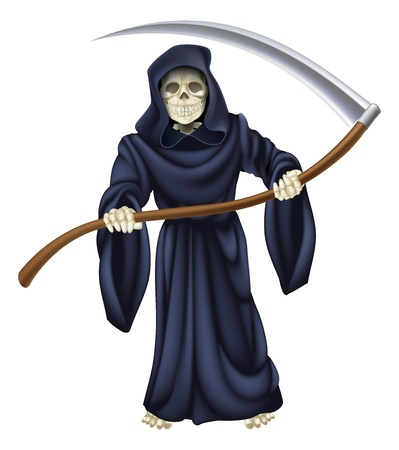 An illustration of a grim reaper death character holding a scythe Vector