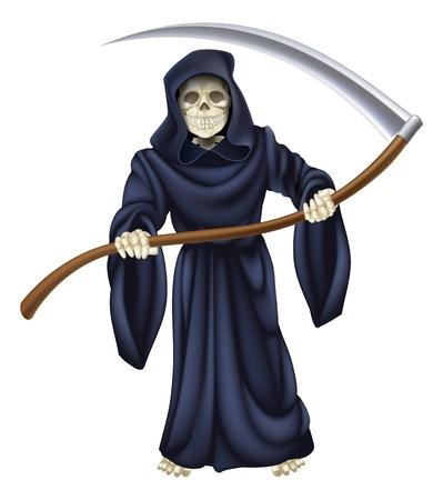 scythe: Una ilustraci�n de un personaje de la muerte sombr�a reaper sosteniendo una guada�a