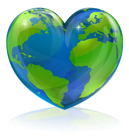 save the environment: A conceptual illustration for loving the world, the globe in the shape of a love heart. Could be used for environmental or travel and tourism related themes. Illustration