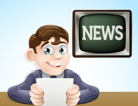 An illustration of a studio television news reporter holding paper at desk  Vector