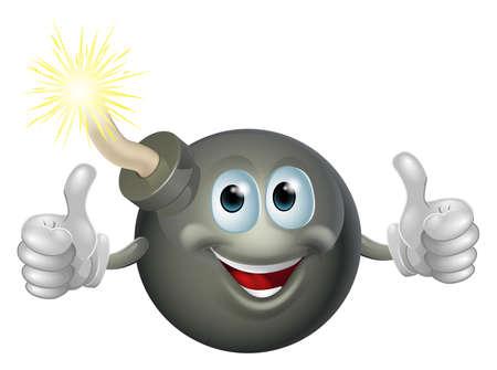 bomba a orologeria: Disegno di un cartone animato bomba ciliegia uomo sorridente e dando un pollice raddoppiare
