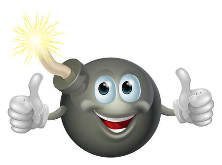 Drawing of a cartoon cherry bomb man smiling and giving a double thumbs up Vector