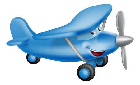 avion caricatura: Una ilustraci�n de un poco de azul car�cter avi�n prop feliz de dibujos animados lindo