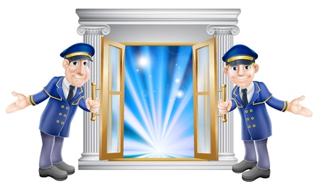 venue: An illustration of two VIP doormen characters holding open a door at the entrance to a venue or hotel