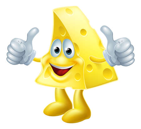 A drawing of a happy cartoon cheese man giving a double thumbs up Vector