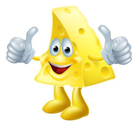 kaas: Een tekening van een gelukkig cartoon kaas man die een dubbele thumbs up