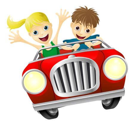 convertible car: Cartoon hombre y una mujer j�venes se divierten conduciendo un coche descapotable rojo