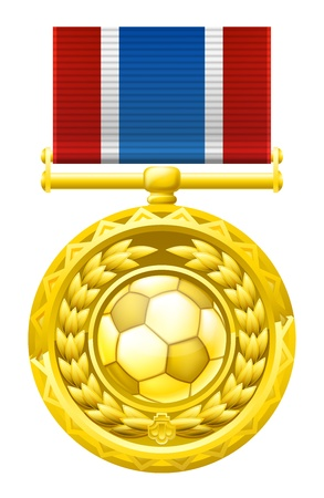 A gold winners medal with a laurel wreath and soccer football ball illustration. Stock Vector - 19138093