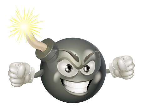cartoon bomb: An illustration of mean or angry looking cartoon bomb character with a lit fuse