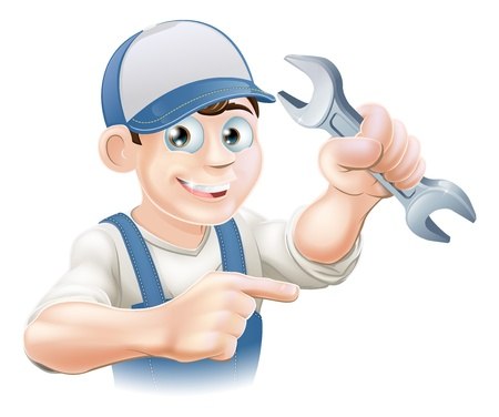 mecanic: A plumber, mechanic or engineer in overalls pointing and holding a spanner or wrench
