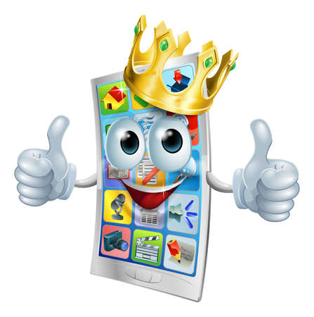aplication: Illustration of a cell phone king character wearing a gold crown and giving a double thumbs up Illustration