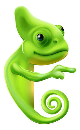An illustration of a cute cartoon chameleon pointing round a sign or banner Vector