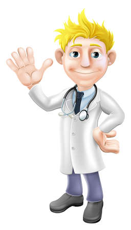 Illustration of a young cartoon doctor standing and waving with stethoscope Vector