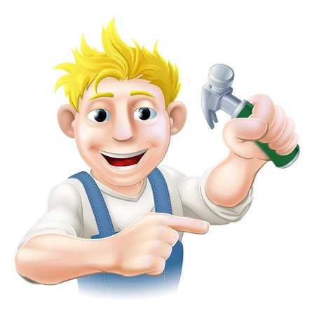 Illustration of a construction guy holding a hammer and pointing Vector