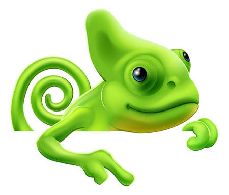 An illustration of a cute cartoon chameleon pointing from above a sign or banner Vector