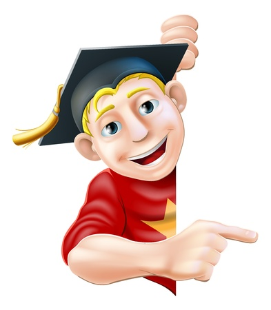 convocation: Man in graduate mortar board hat or cap leaning round a sign or banner and pointing at it