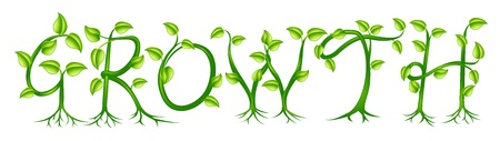 letters clipart: Growth spelt out by trees or plants growing into the word