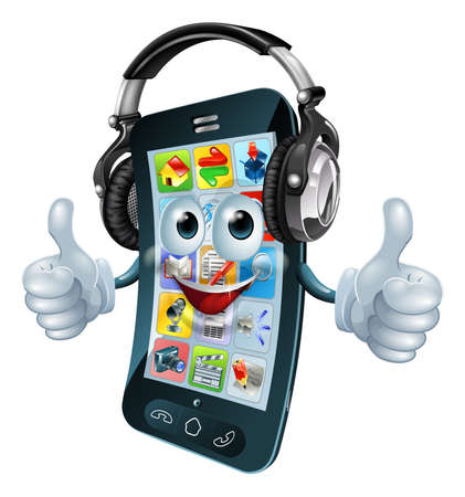 A cell phone cartoon character with music headphones on giving the thumbs up. Could be a concept for a music app or similar. Vector