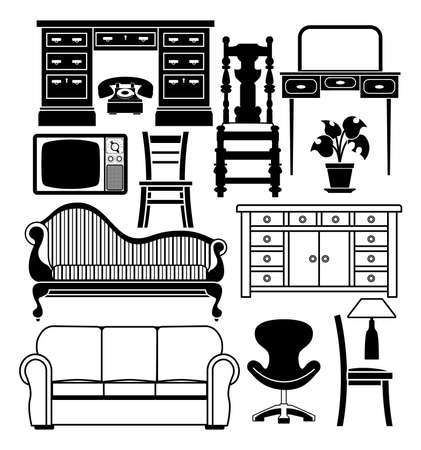 chaise longue: An illustration of a set of black and white furniture graphics
