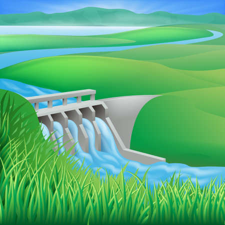 hydroelectricity: Illustration of a hydroelectric dam generating power and electricity  Illustration