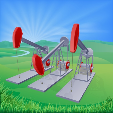 production of energy: Illustration of oil well pumpjacks also known as nodding donkeys, horsehead pumps, dinosaurs or by various other names