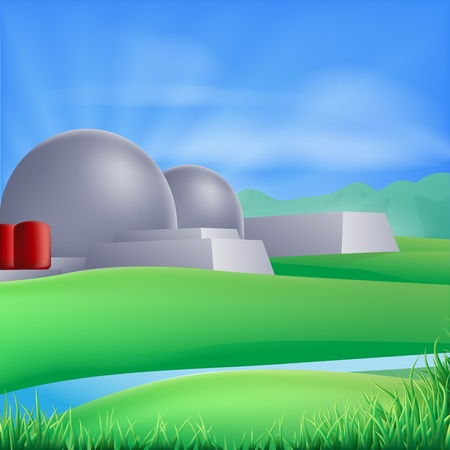 nucular: Illustration of a nuclear power plant generating power and electricity
