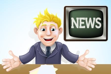 reportero: Dibujo de un Locutor de TV de dibujos animados en su escritorio Vectores