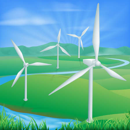 production of energy: Illustration of a wind farm generating power and electricity