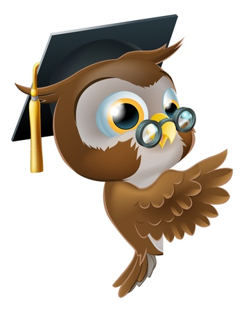 mortar board: Illustration of a happy cute wise old owl leaning or peeking round a sign and pointing at it