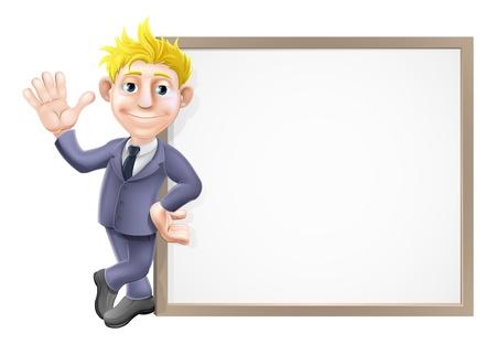 letrero: Una ilustración de un hombre de negocios sonriendo y saludando con su traje de negocios apoyado en un gran cartel con el copia-espacio Vectores