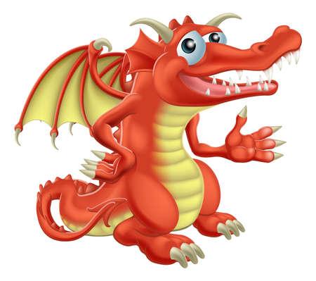 dragon rouge: Dessin d'un personnage de dragon rouge heureux mignon