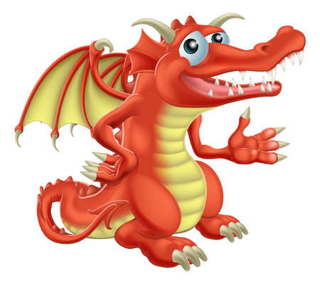 Drawing of a cute happy red dragon character Vector