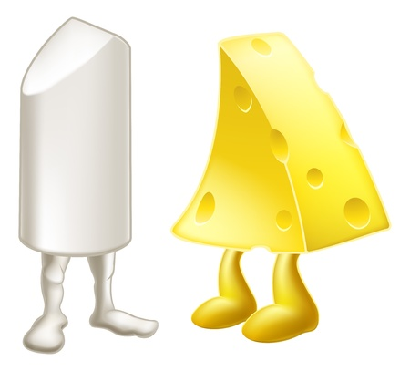 dissimilar: Drawing of cartoon chalk and cheese characters, from the metaphor chalk and cheese, meaning very different, dissimilar or opposite. Illustration