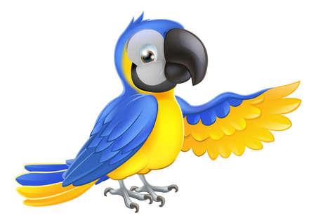 guacamaya caricatura: Un guacamayo azul y amarillo loro señalar o mostrar algo con su ala Vectores