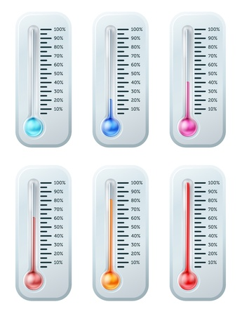 A series of thermometers with the colour of the liquid turning warmer as temperature increases or target or goal is reached. Starts off blue through to red. Stock Vector - 19419929
