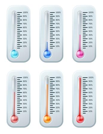 osiągnął: Seria termometrów z kolorem cieczy zwrotnym cieplej w miarę wzrostu temperatury lub docelowych lub cel jest osiągnięty. Zaczyna się niebieski aż do czerwieni.