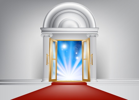 arrive: A door with a red carpet leading up to it and bright abstract blue light on the other side