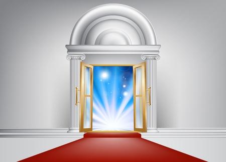 venue: Una porta con un tappeto rosso che conduce ad essa e brillante luce blu astratto sul lato opposto Vettoriali