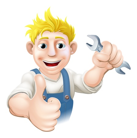 mecanic: Cartoon mechanic or plumber holding a wrench or spanner and doing a thumbs up gesture