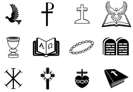 religion catolica: Ilustraci�n de los signos y s�mbolos religiosos de la cristiandad