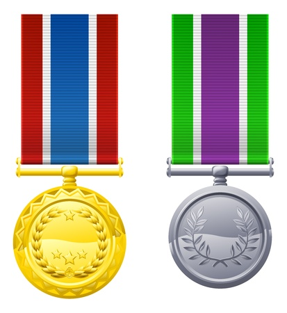 An illustration of two hanging metal medals and ribbons Vector